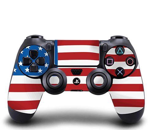 skin stickers sony ps4 controller american flag manette jeux vid os et manette de jeu. Black Bedroom Furniture Sets. Home Design Ideas