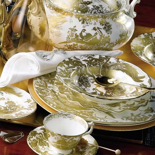 Possiply one of the most regal patterns in our store, Gold Aves by Royal Crown Derby sets a majestic and stately table, especially when paired with fine cut crystal and beautiful silver. Royal Crown Derby has been making bone china exclusively in Derby, England since 1750. The proud heritage of this firm is an unwavering commitment to producing the finest dinnerware and decorative accessories using traditional and modern techniques.