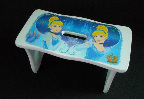 Light blue child's wooden bench  step stool by HandmadeByFiona