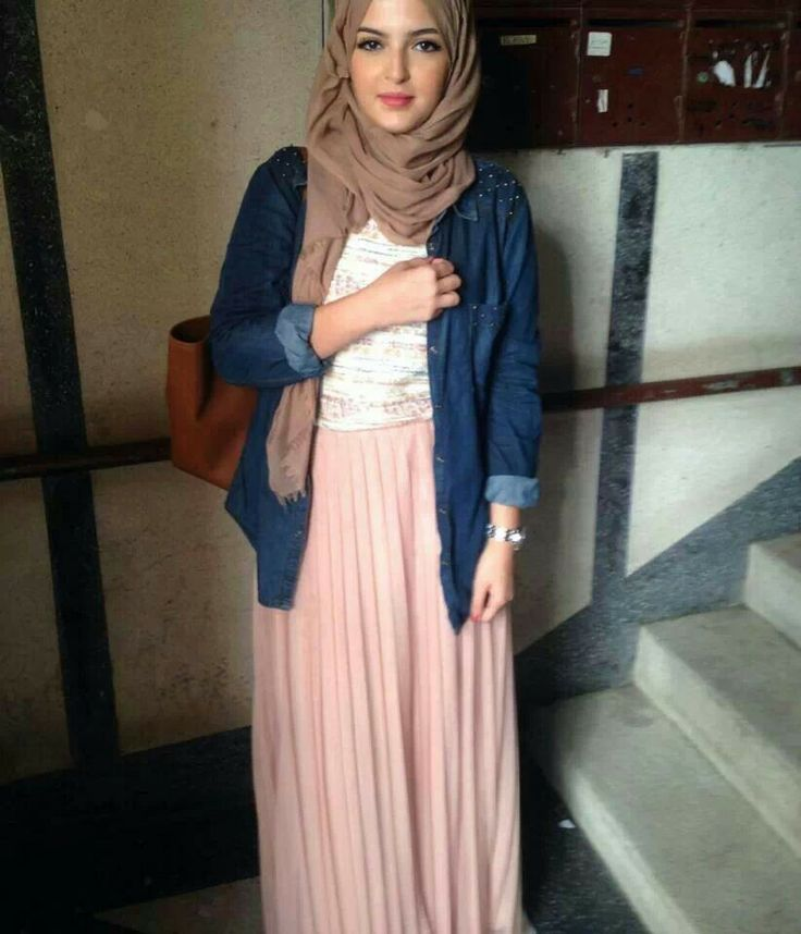 Denim blouse.  White tshirt. Pastel maxi. Natural scarf.  <3