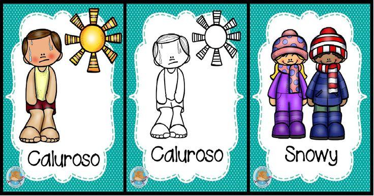 Carteles sobre el clima en inglés y español. A color y en blanco en negro para colorear