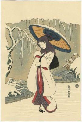 Harunobu-Heron Maiden