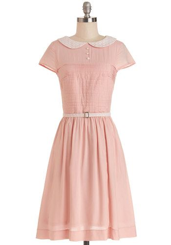 Confectioner's Dream Dress by Bea & Dot - Woven, Long, Pink, Solid, Peter Pan Collar, Belted, Casual, A-line, Short Sleeves, Better, Collare...