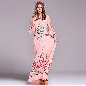LD LINDA DELLA New Fashion Runway Designer Maxi Dress Women's Flare Sleeve Animal Butterfly Snake Printed Long Dress