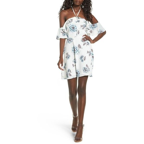 Women's J.o.a. Halter Cold Shoulder Minidress (1,285 MXN) ❤ liked on Polyvore featuring dresses, off white multi, halter mini dress, halter cocktail dress, champagne cocktail dress, champagne short dresses and halter dress