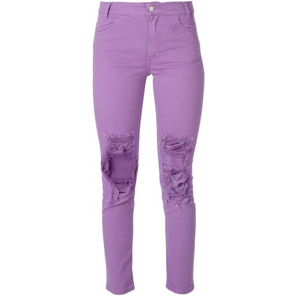 Aries Ripped Skinny Jeans (215 CAD) ❤ liked on Polyvore featuring jeans, pants, bottoms, housut, pantalon, distressing jeans, destroyed jeans, ripped skinny jeans, distressed skinny jeans and torn jeans
