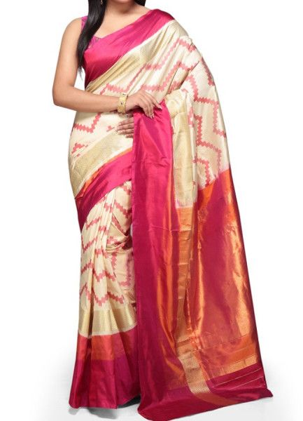 ikat cream jig jag saree