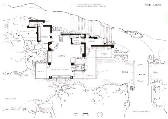 Fallingwater or Kaufmann Residence / Plan, main level (Pennsylvania, 1935 by Frank Lloyd Wright)