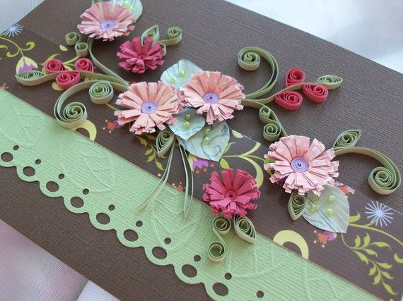 Hand Quilled Paper Art Fantasy Flower Greeting Card Card All