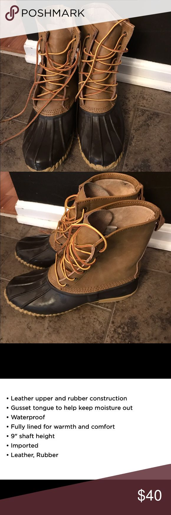 AE Duck Boots So I bought these thinking they were a women's 8 but turns out they are men's.... if you are a size 10 they would work. Brown rubber with leather boot. Great for rain or snow... Worn only a handful of times so they are in great condition! American Eagle Outfitters Shoes Winter & Rain Boots