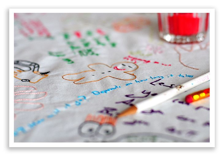 Creating a family tablecloth- every time family gathers together they draw on it with pencil and then someone need points it- building on it every year. Must DO!
