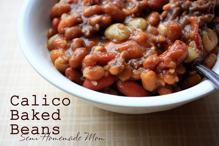 Calico Baked Beans    1lb ground beef  1 minced onion  8 slices bacon  1 can Ranch beans  1 can kidney beans  1can lima beans  1can pork & beans  3/4 cup brown sugar  1/2 cup ketchup  1 T mustard      Cook bacon crispy & drain. Cook ground beef in bacon skillet & drain. Mix everything in crock pot to warm.