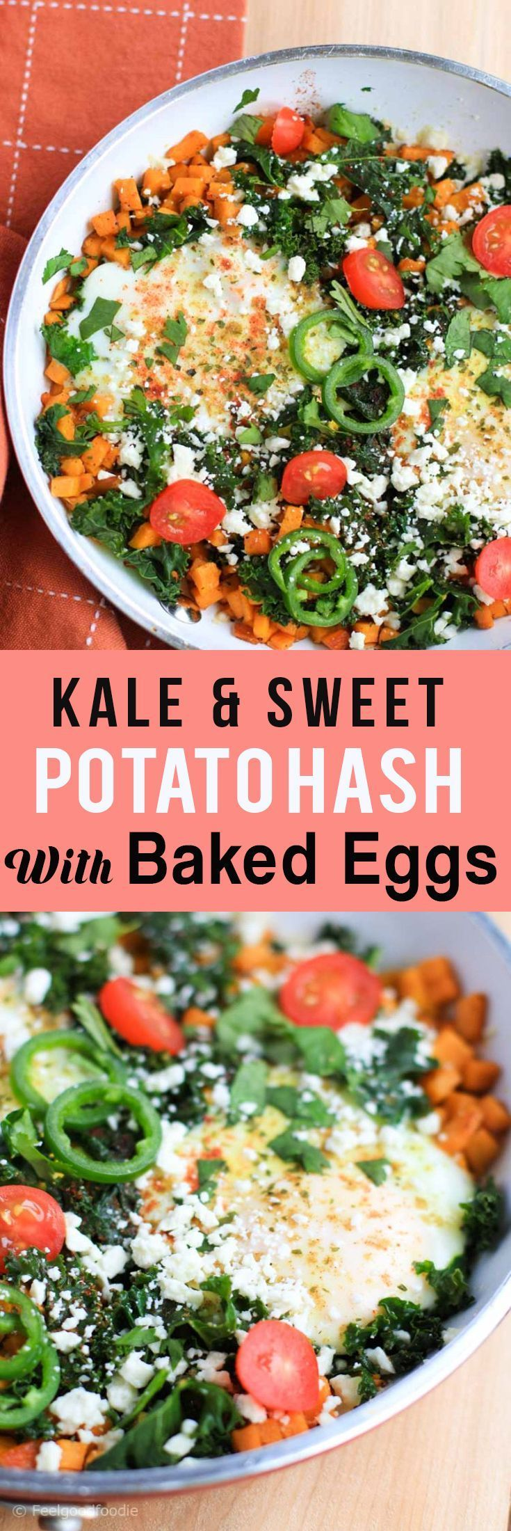 Kale & Sweet Potato Hash With Baked Eggs | You know that one meal you can eat for breakfast, lunch or dinner or ANYTIME in between? Yeahhh..this is it!