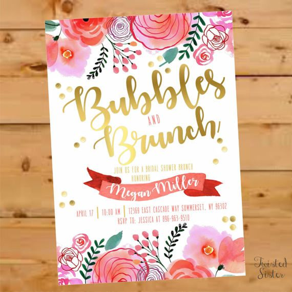 Bubbly Bridal Shower Bubbles and Brunch Invite Floral Bridal