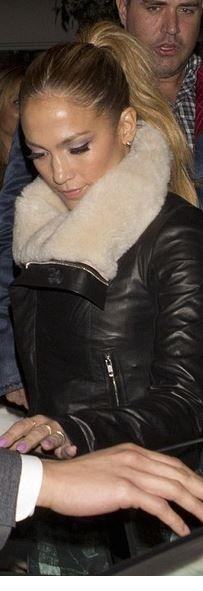 Jennifer Lopez, black leather jacket