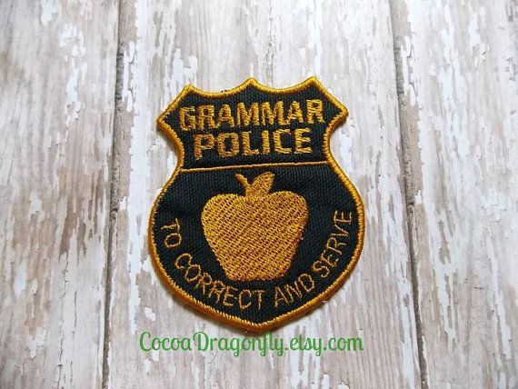 Grammar Police Patch Applique Black and Gold by CocoaDragonfly