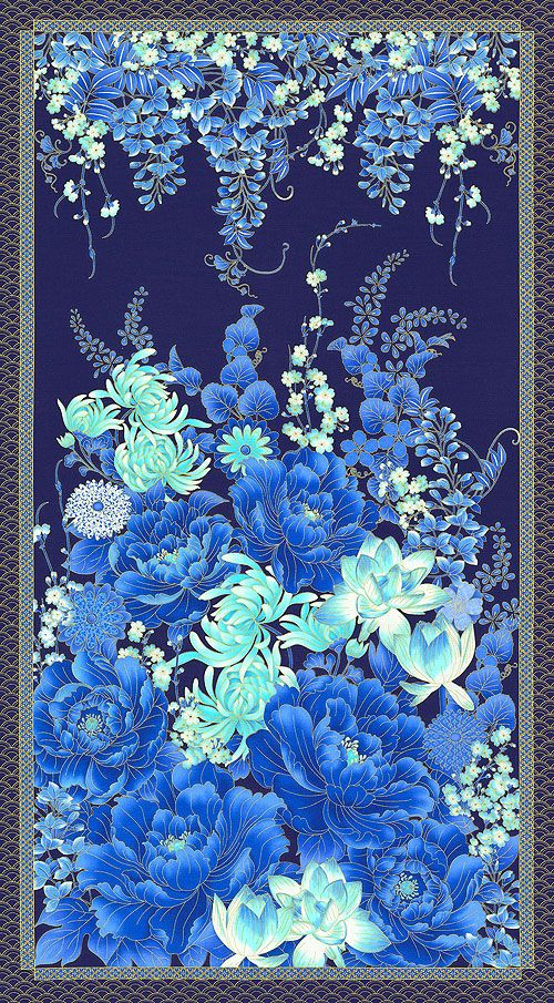 """Imperial Garden - Under the Wisteria - Blue - 24"""" x 44"""" PANEL"""