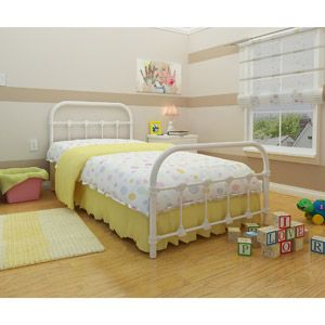 Melissa Metal Twin Bed, White. I am in love with this bed for the girls room.