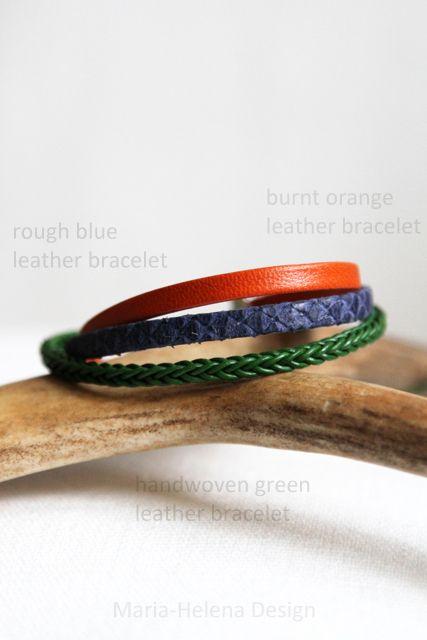 Slim leather bracelets for men in burnt orange, lapiz blue and gentlemen's green.