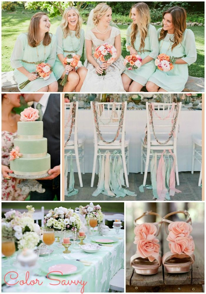 mint and peach wedding - Google Search