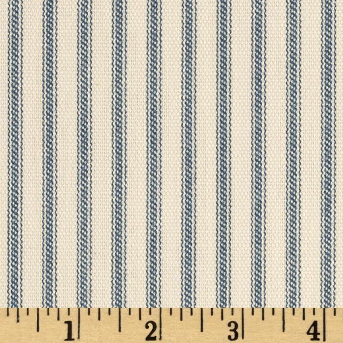 Vertical Ticking Stripe Ivory/Cerulean Blue