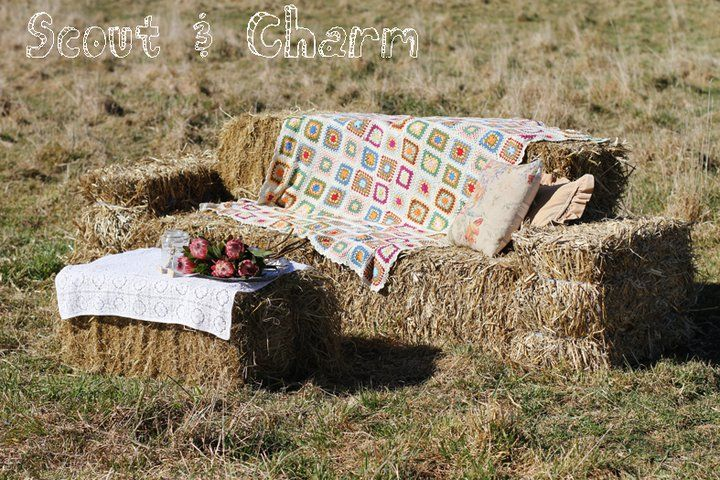 Hay bale couch for lounge area