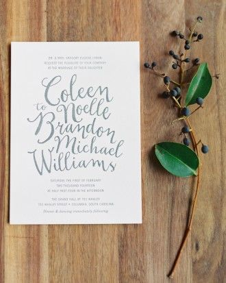 Check out these letterpressed invites from a rustic, romantic South Carolina wedding. More images from this real wedding are online!
