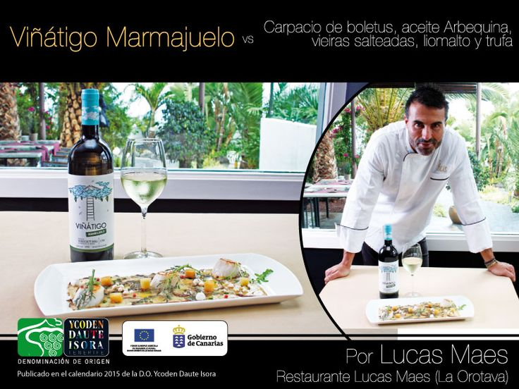 Viñátigo Marmajuelo vs Carpaccio de boletus, aceite Arbequina, vieiras salteadas, liomalto y trufa