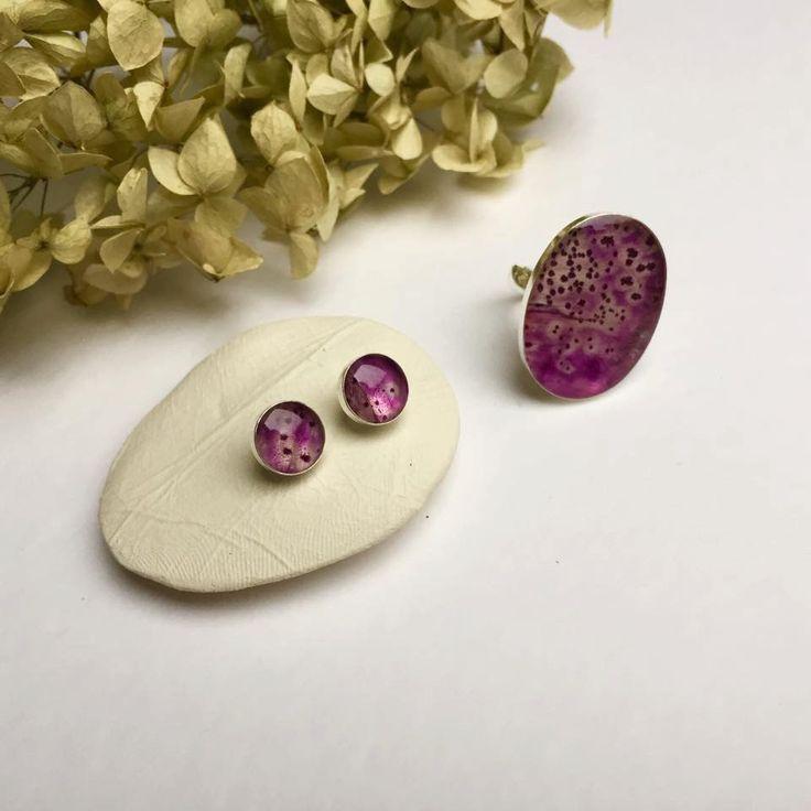 Digitalis purpurea flower petal in resin. sterling silver ring by pebs on Etsy