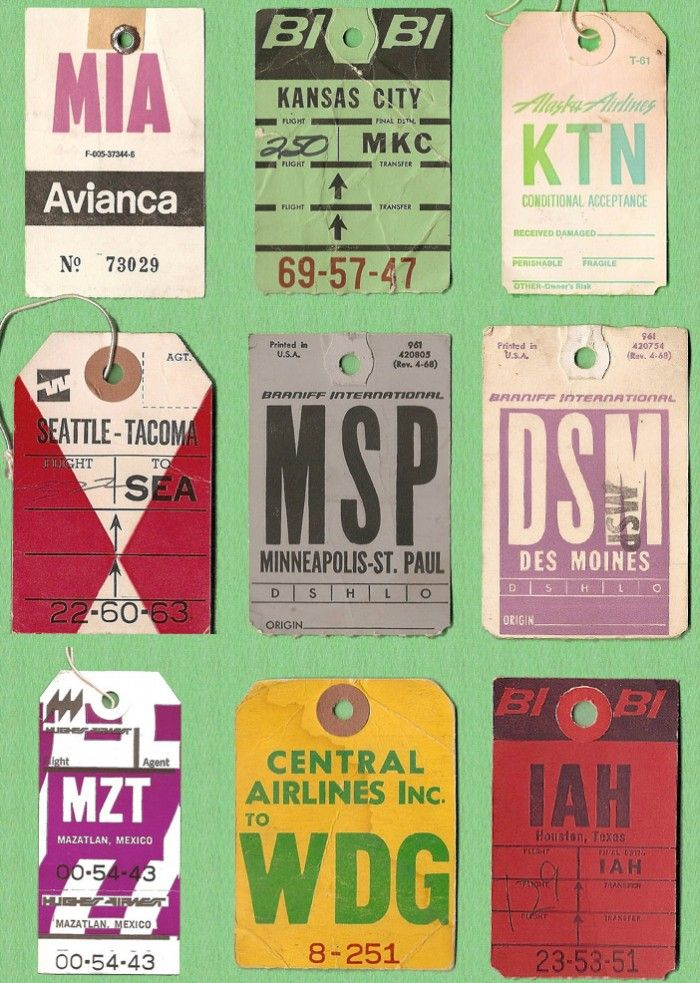 Vintage U.S Airline Baggage Tickets - Vintage Inspiration - Patternbank