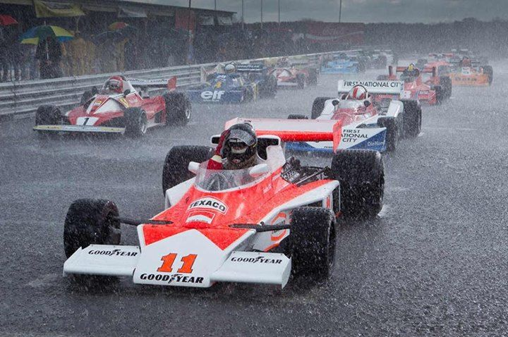 James Hunt (foreground) and Niki Lauda (left) await the start at Suzuka, 1976.