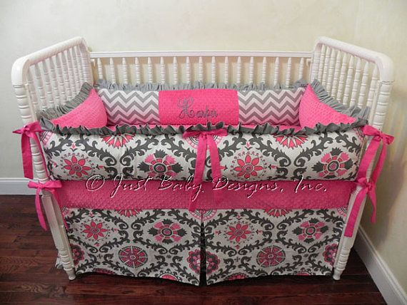 Custom Crib Bedding Rosa Hot Pink and Gray by BabyBeddingbyJBD