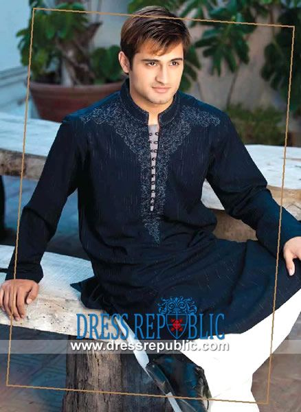 Designers Kurta with Shalwar for Mens for Weddings Navy Blue Embroidered Kurta With White Shalwar available on Dressrepublic. by www.dressrepublic.com