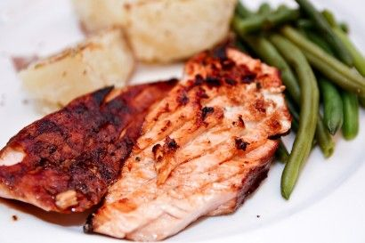 Best Salmon Marinade  ⅓ cups Extra Virgin Olive Oil  1 teaspoon Sesame Oil  5 Tablespoons Soy Sauce  4 Tablespoons Balsamic Vinegar  3 Tablespoons Honey  4 teaspoons Brown Sugar  1-½ teaspoon Ground Ginger  1 teaspoon Crushed Red Pepper Flakes, More Or Less To Taste  ½ teaspoons Salt  2 stalks Green Onions, Chopped  3 cloves Garlic, Minced
