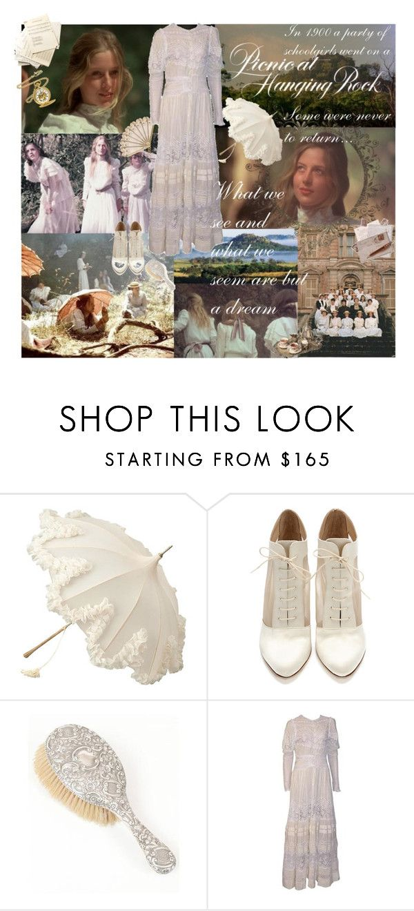 """Picnic at Hanging Rock"" by pastel-punch ❤ liked on Polyvore featuring Loeffler Randall, Charles Hubert, lace, picnic at hanging rock, dress, white and edwardian"