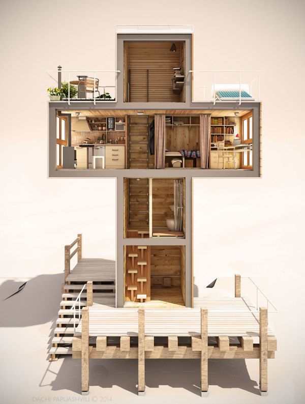 this energetically independent tiny house is shaped like a cross - Micro House