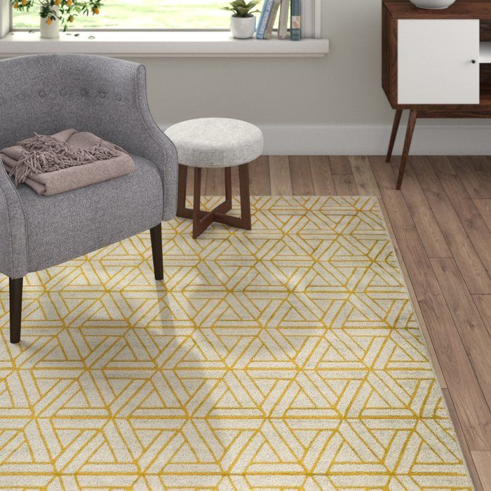 Ginsberg Geometric Mustard Dark Brown Gray Area Rug With Images