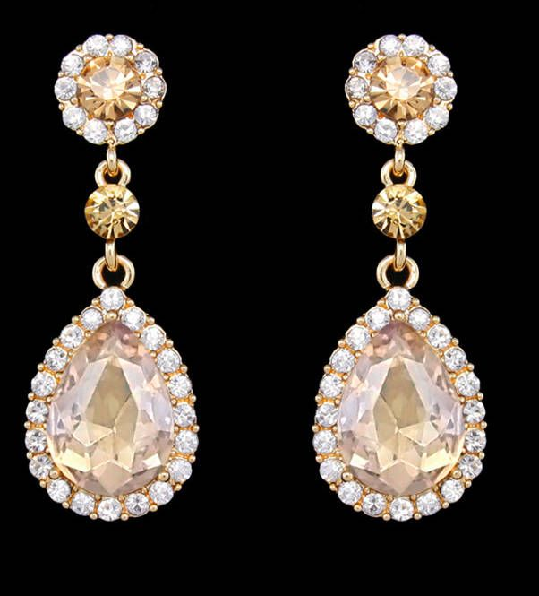 "PAIR Dangle Crystal Vintage Champagne Wedding Prom gauges plugs tunnels 2g 0g 00g 7/16"" 1/2"" 6mm 8mm 10mm 11mm 12mm"