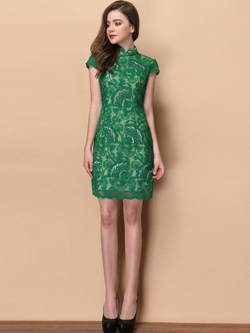 Green Floral Lace Qipao / Cheongsam Dress