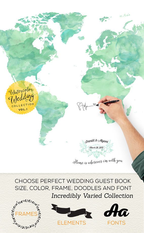 Custom Wedding Guest Book, Personalized World Map Guestbook, Made wedding Guest Book Gift Idea, Bride and Groom - Minted Color