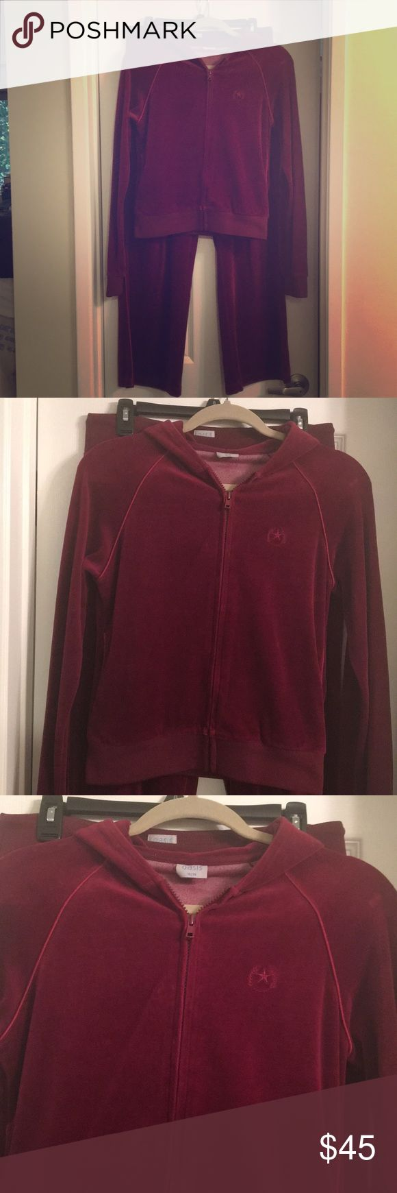 Velour tracksuit Beautiful velour hooded full zipped top with matching pants. Very comfortable, gently worn. Bought in Oasis boutique, London UK. Pants Jumpsuits & Rompers
