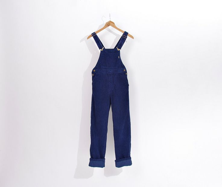 80s LUCAS Navy Blue Corduroy Workwear Style Overalls / Size XS/S by Only1Copy on Etsy