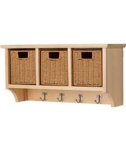 Pine Wall Storage Unit with Baskets.