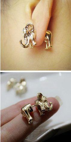 3D golden elephant earrings #jewelry