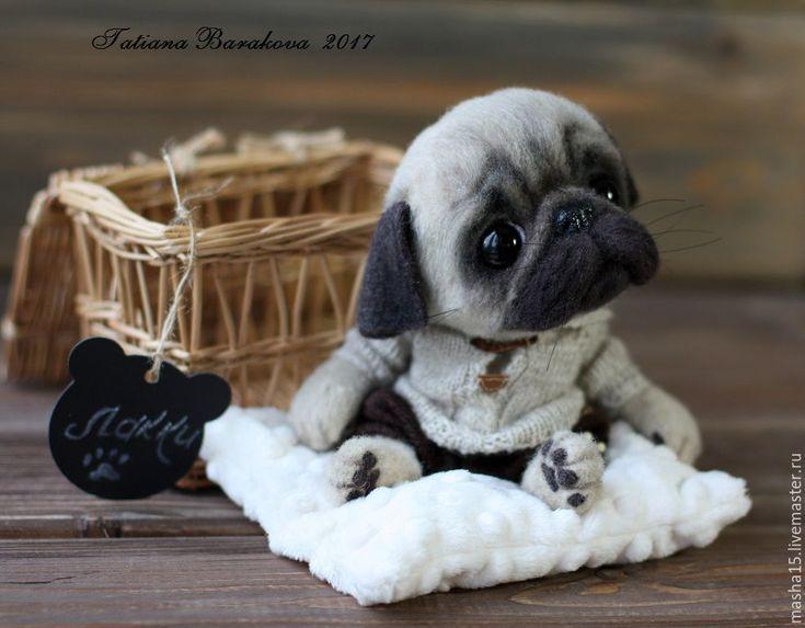 """Купить Мопсик валяный """"Лакки"""" - мопс, мопсик, мопс из шерсти, щенок, щенок игрушка"""