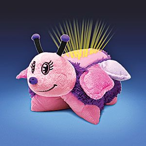 """Dream Lites (TM) (Butterfly) - Transforms from lovable plush playmate into comforting nightlights at the push of a button! Color-changing LED lights instantly project a starry sky onto ceiling and walls, while the top """"shell"""" glows to help your child ease off to sleep. $39.98 CAD"""