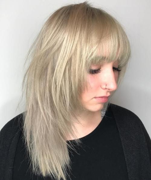 Medium Ash Blonde Shag With Bangs