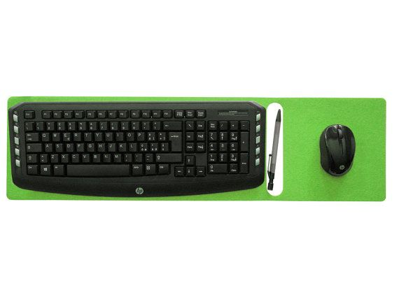 bousepad is a laser cut felt colorful desk mat with a keyboard rest mouse pad