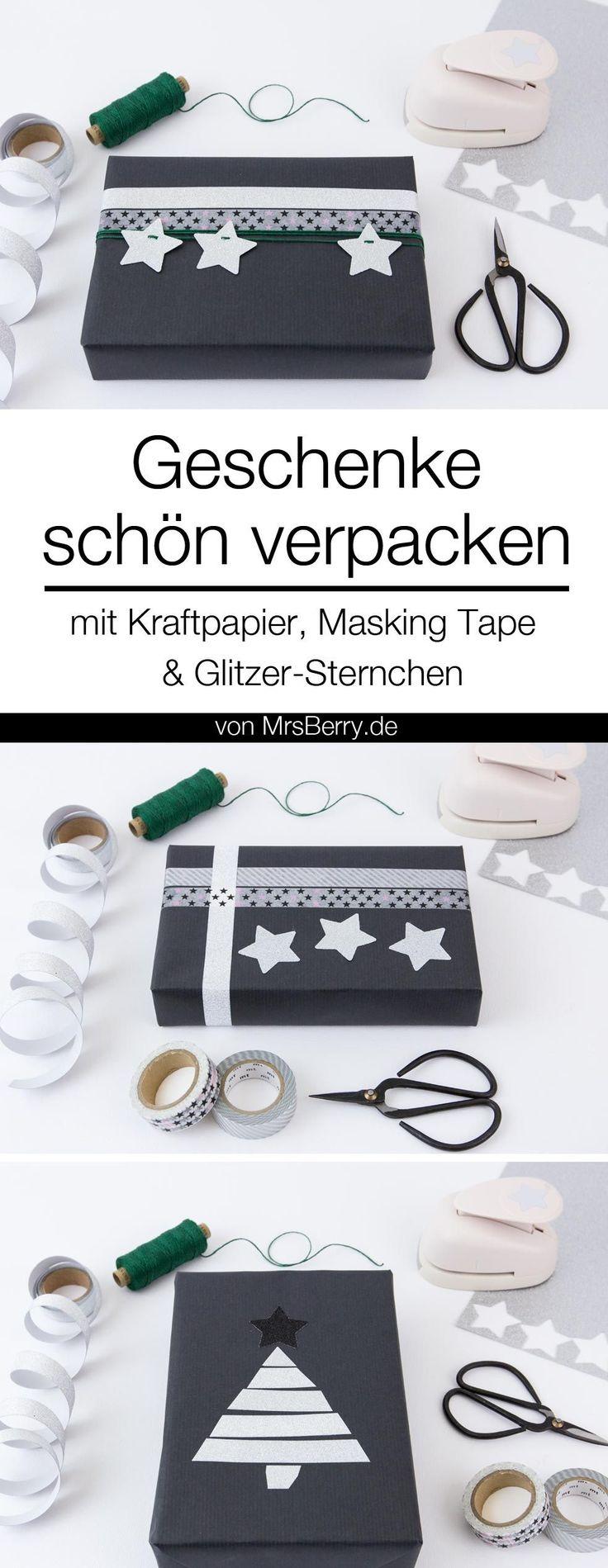 Geschenke schön verpacken - mit schwarzem Kraftpapier, Masking Tape und Glitzer-Sternchen.   Diese und weitere Ideen für DIY Geschenkverpackung auf MrsBerry.de