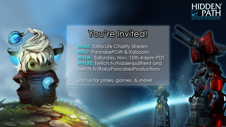 You're invited!  Join @pancakepow and @kaptainkaboom on Saturday, November 15th for an Extra Life Charity Stream!